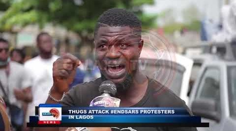 Thugs attack #EndSARS Protesters in Lagos. - Galaxy TV