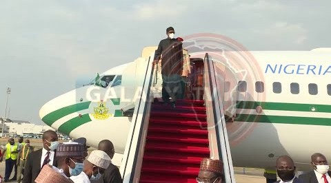 BUHARI RETURNS TO NIGERIA AFTER MEDICAL CHECK-UP IN UK